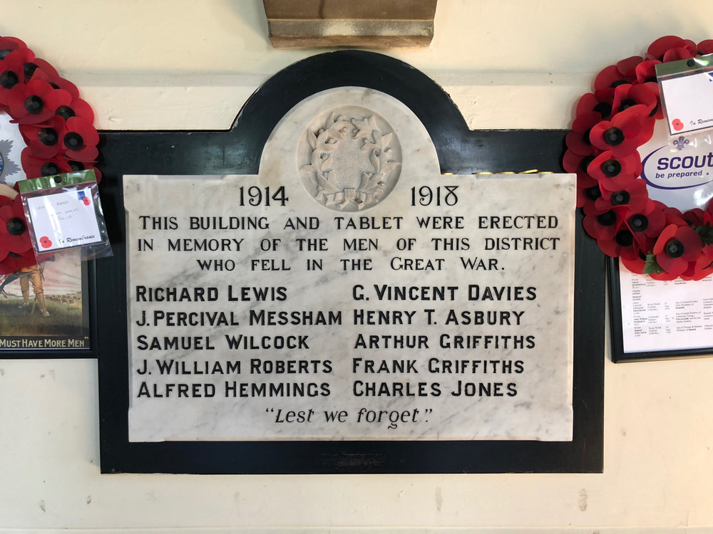 The Great War memorial in the Penyffordd War Memorial Institute remembers the names of former residents of Penyffordd, Penymynydd and Dobshill who lost their lives in World War One.