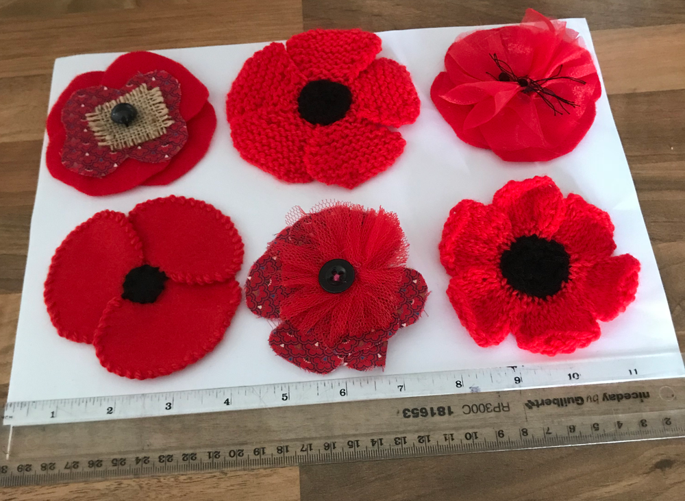 Example poppies showing some different designs, materials and approximate size