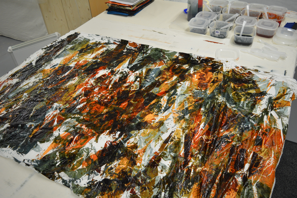This is what the fabric looks like after applying the second layer of colour