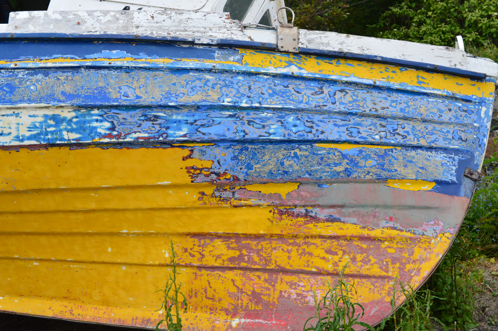 Abandoned boat at side of Dunure habour, Ayrshire