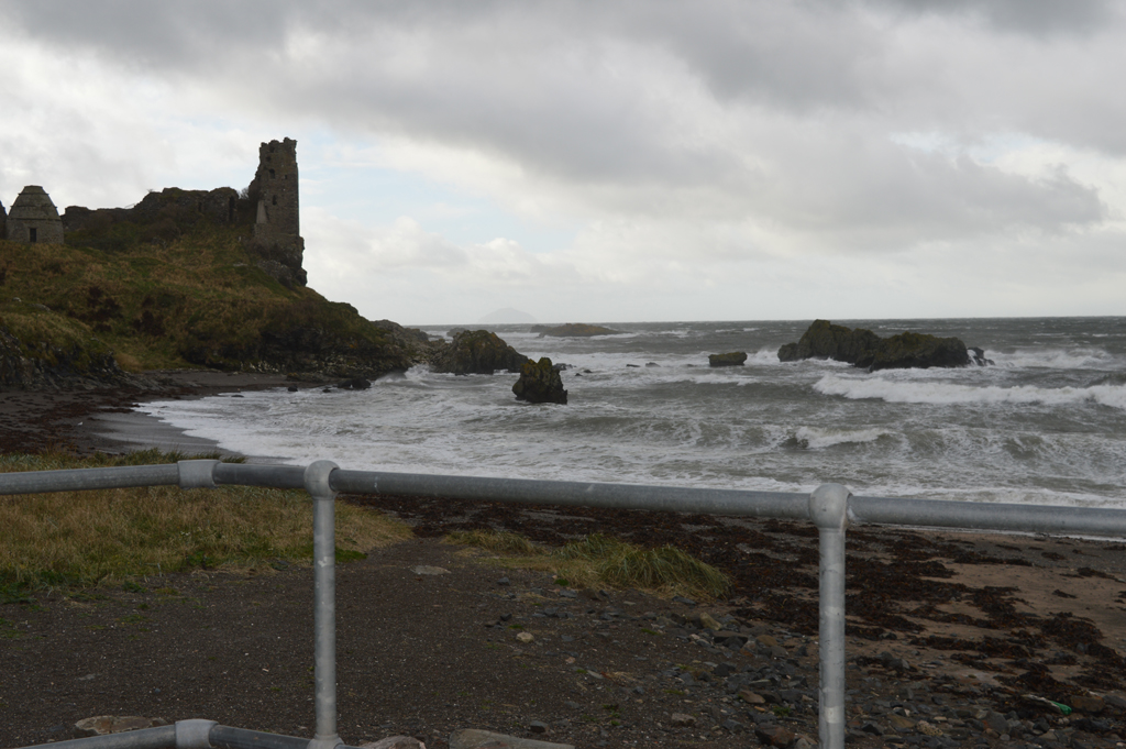 Looking across the beach towards Dunure Castle