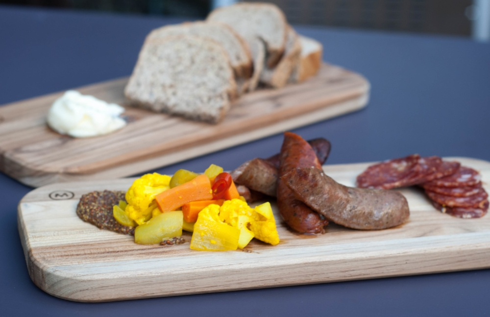 SAUSAGE PLATE - local artisan sausages, pickles, beer mustard, crostini
