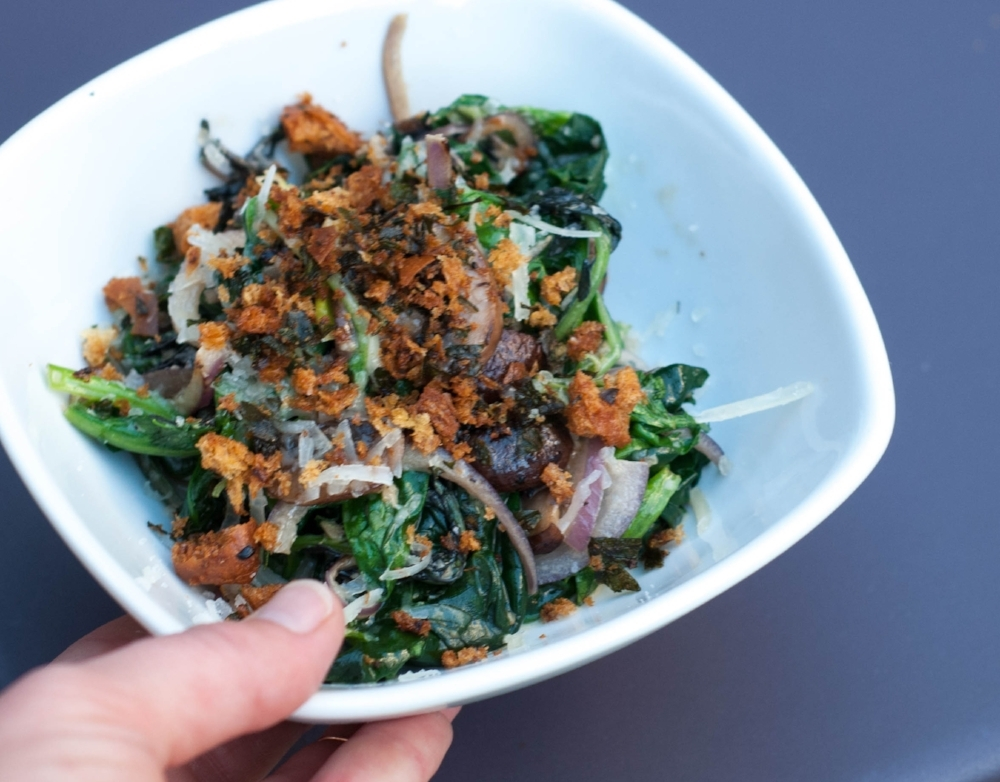 SAUTEED GREENS - criminis, parmesan cream, breadcrumbs