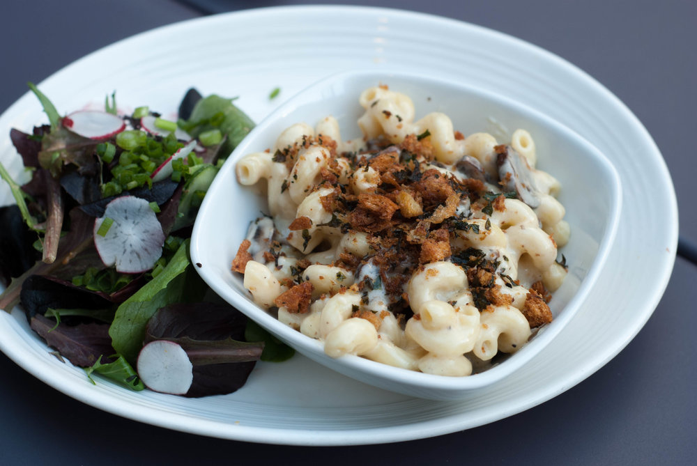 MAC N CHEESE - cavatapi, 3 cheese truffled cream, criminis, herb breadcrumbs, green salad