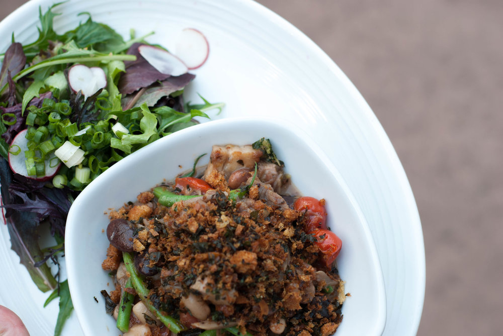 WINTER CASSOULET - legumes, winter vegetables, duck confit, sausage, pork belly, breadcrumbs + green salad