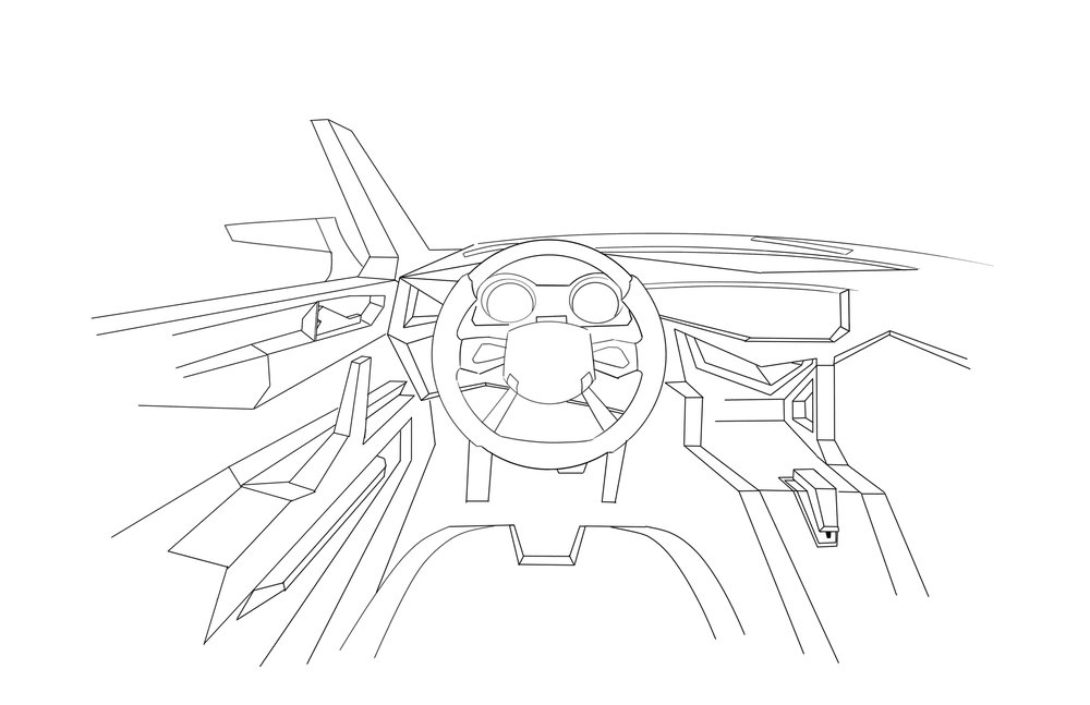Car Design - Subaru STI Prototype, Interior Mock-Up   Digital Sketch, Sketchbook Pro