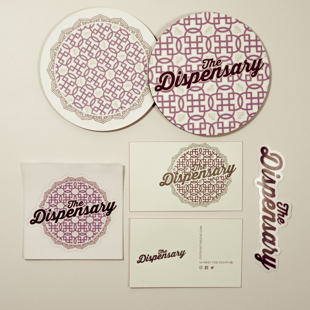Dispensary Brand Identity 2017   Final Brand Production - Costers, Stickers, Business Cards, Decal
