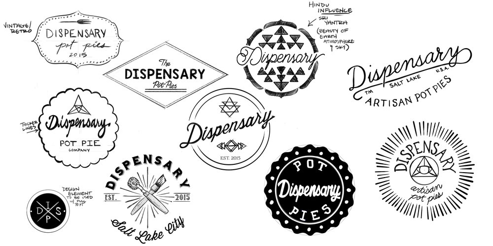"Initial ""Dispensary"" Logo Sketches   Digital Sketch, Photoshop CC"