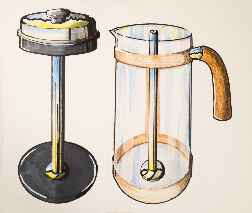 French Press Render   Marker and Pencil on 100% Rag