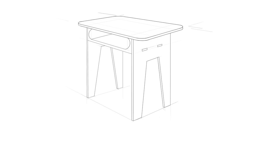 Flat-Pack Desk, Final Sketch   Digital Sketch, Sketchbook Pro
