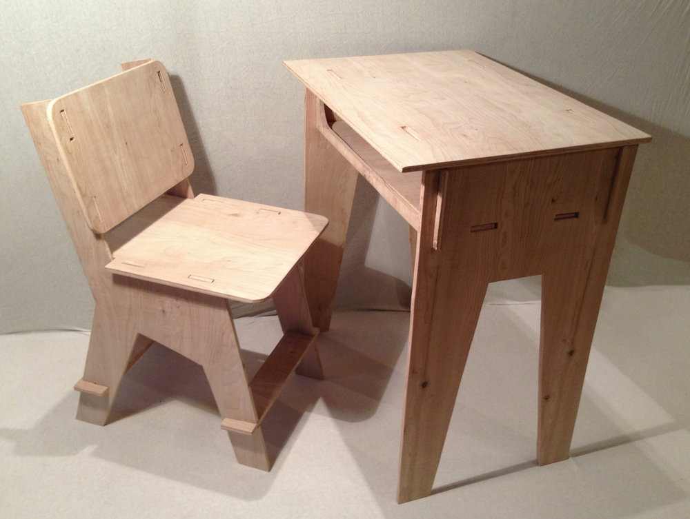 Flat-Pack Desk and Chair Assembled    Plywood, Hand-Cut