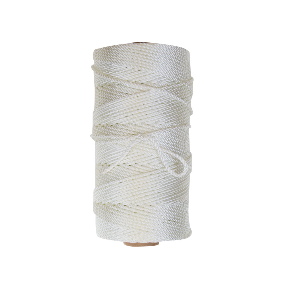 Seine Twine - Three strand twisted twine made from 100% industrial natural white nylon 6.6. Dyed green and Marine Tarred Seine Twines are linear processed in solution, mechanically brushed to insure dye or tar penetration, and then dried in gas-fired ovens. *Note - due to shrinkage, yields on dyed and tarred twines are from 5% - 7% less than natural white twines.