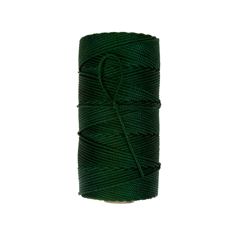 Dyed Green Seine Twine - Three strand twisted twine made from 100% industrial natural white nylon 6.6. Dyed green are linear processed in solution, mechanically brushed to insure dye penetration, and then dried in gas-fired ovens. *Note - due to shrinkage, yields on dyed twines are from 5% - 7% less than natural white twines.