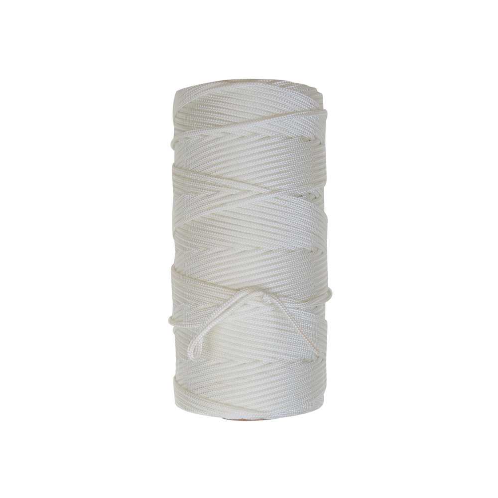 Round Braid Nylon - Constructed of 100% natural white industrial nylon. Round braid can be dyed, tarred, or manufactured using color-fast solution dyed nylons (perma color). Please call for minimum order runs for colored or dyed materials. The yields listed below are for natural white braided nylon and dyed or tarred material may shrink from 7% - 10%. Perma color nylons will maintain their original shrink characteristics.