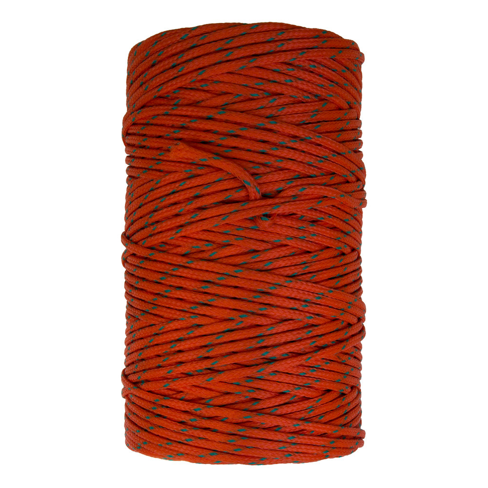 Braided Polyethylene - Constructed especially for commercial fishing applications, this 16 carrier round braid is UV enhanced and available in orange or green in convenient five pound put-ups.