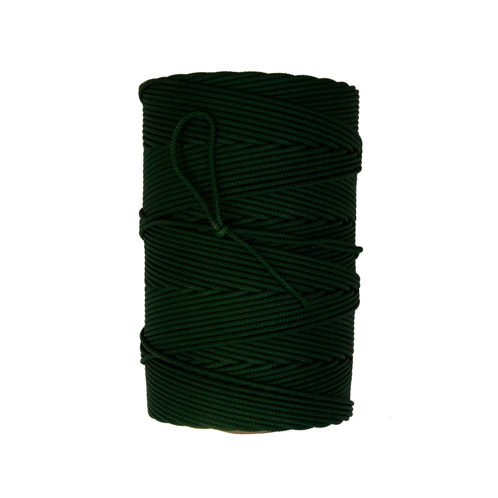 Leader Line - Gangen - Braided nylon with center core and dyed green. Popular gangens for longline gear. Available in two pound packages.