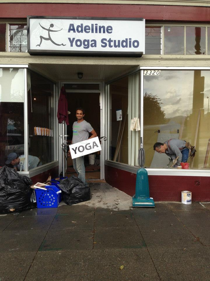 old Adeline Yoga store front and logo