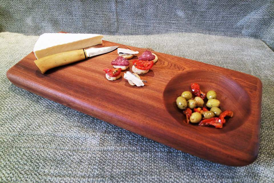 Making bespoke platters with a twist  - Example of  exotic Sapele wood serving platters with a carved Bowl.For serving salads, cheeses, tapas  and hot dishes or desserts