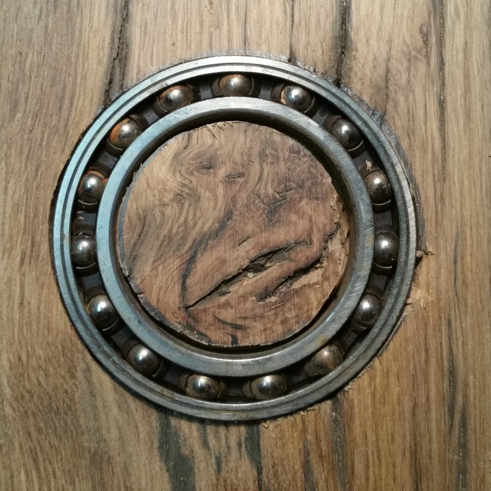 The objective... - To turn a sad old oak door into a beautiful Quarless table. The theme: is industrial cogs and chains.The reason: As I now making some of pieces of sculpture at