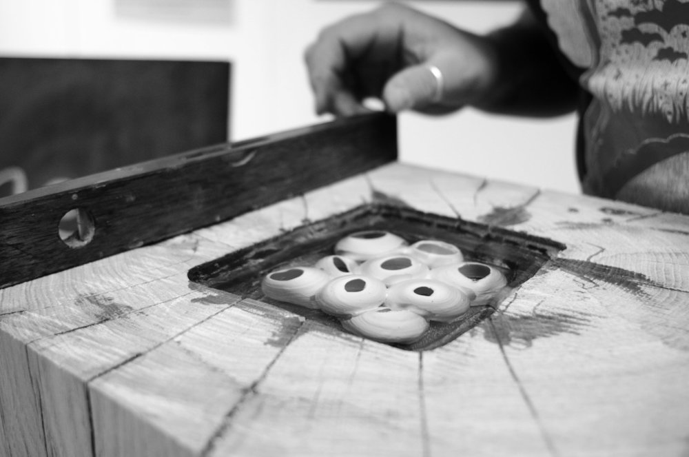 ensuring the oak cubes are level when casting resin!