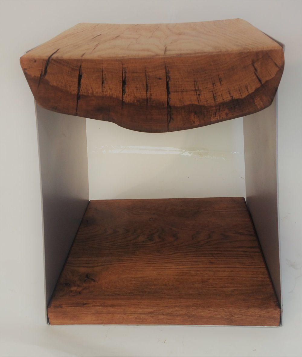 Oak Steel side table seat (front view)