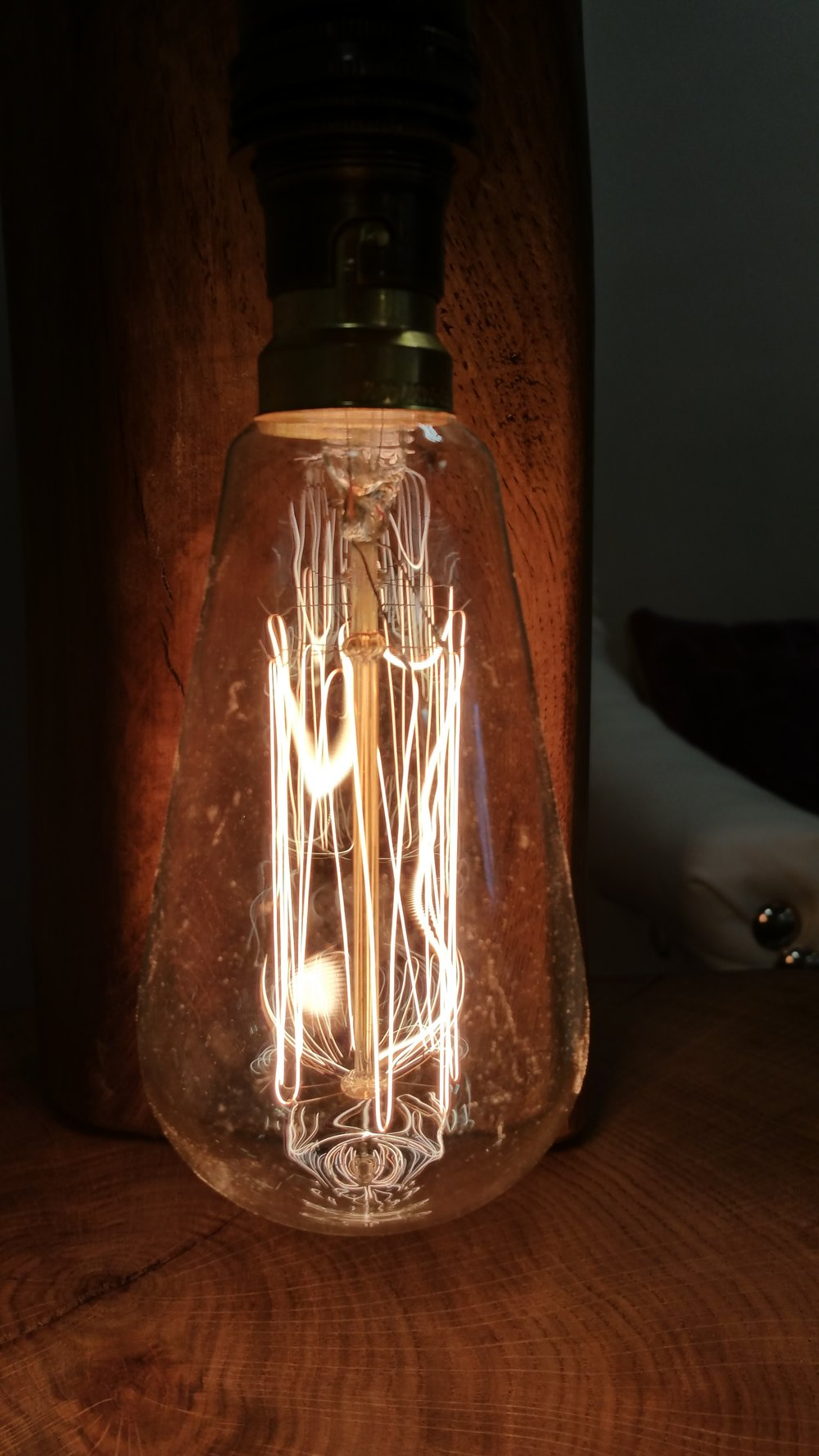 Close up of one of our handmade light bulbs