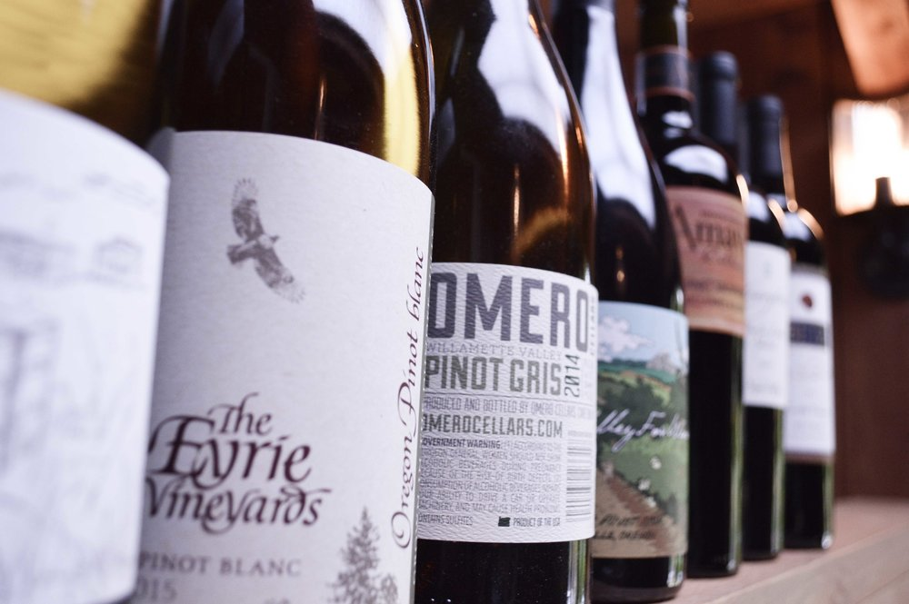 Our wine selection features many regional vineyards from the Pacific northwest