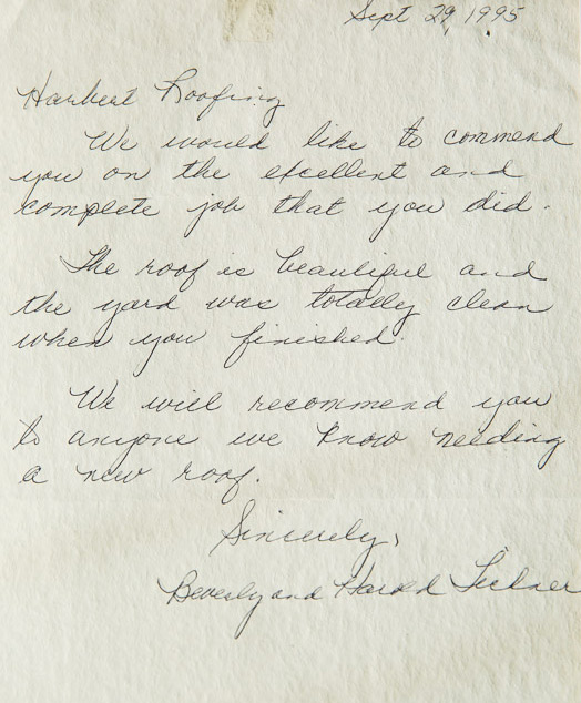 Beverly and Harold Lechaer Written testimonial