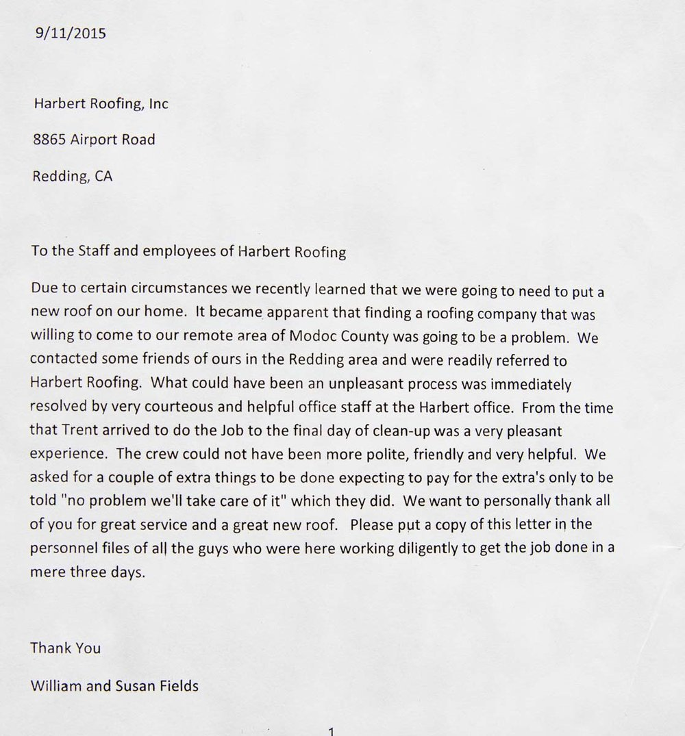 William and Susan Fields Printed Letter