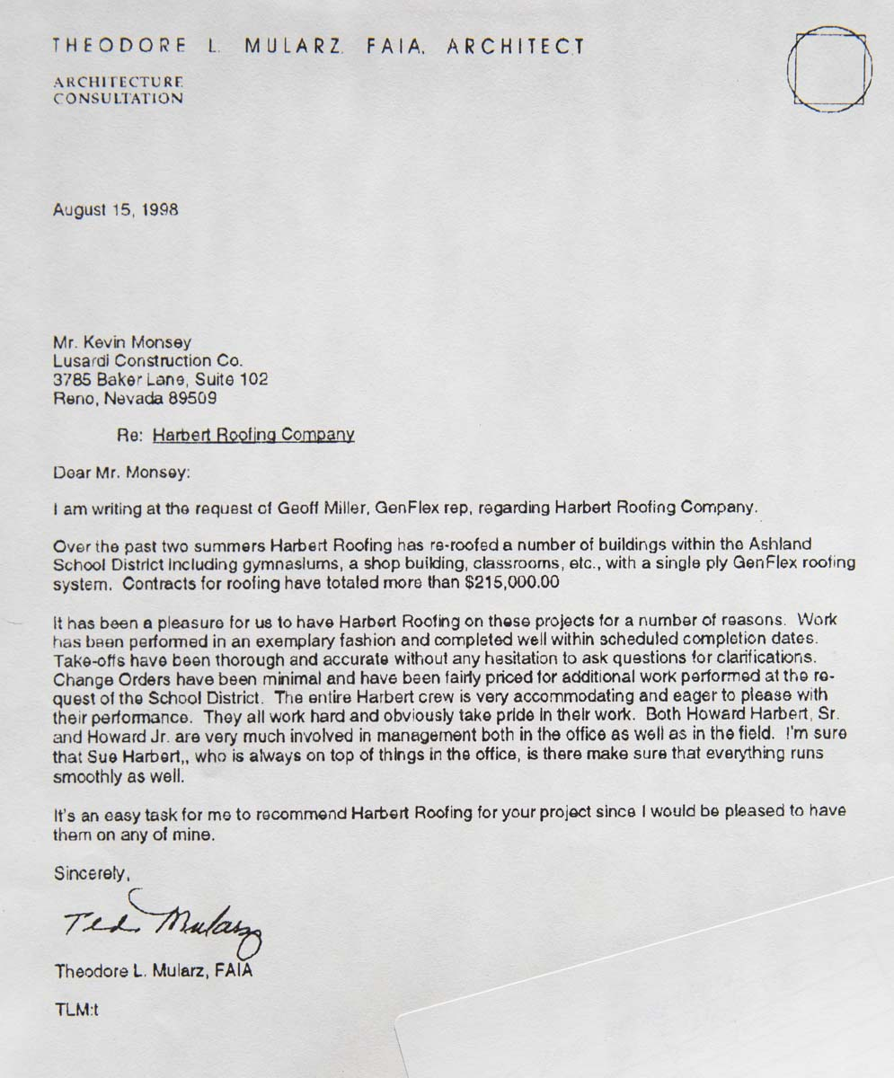 Theodore L. Mularz Testimonial Typed Letter