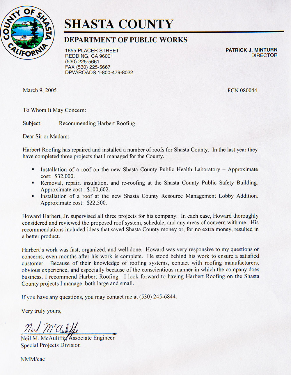 Shasta County Dept. of Public Works Testimonial Printed