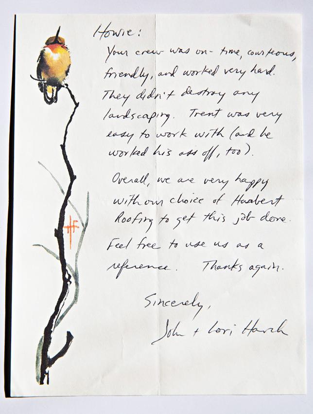 John & Lori Harch Testimonial Written Letter