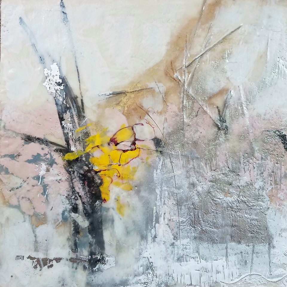 Shades of White, encaustic, silver leaf, pigment on panel,