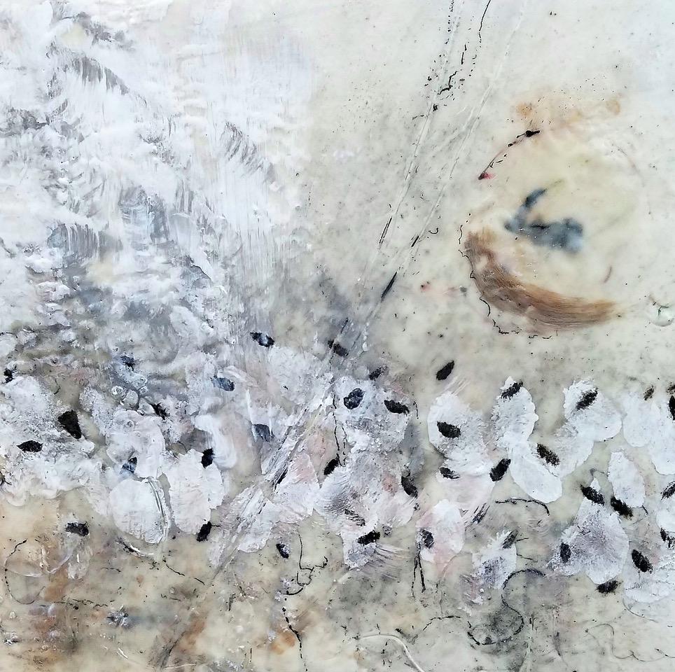 Synchrony in Motion, encaustic/silver leaf/pigment