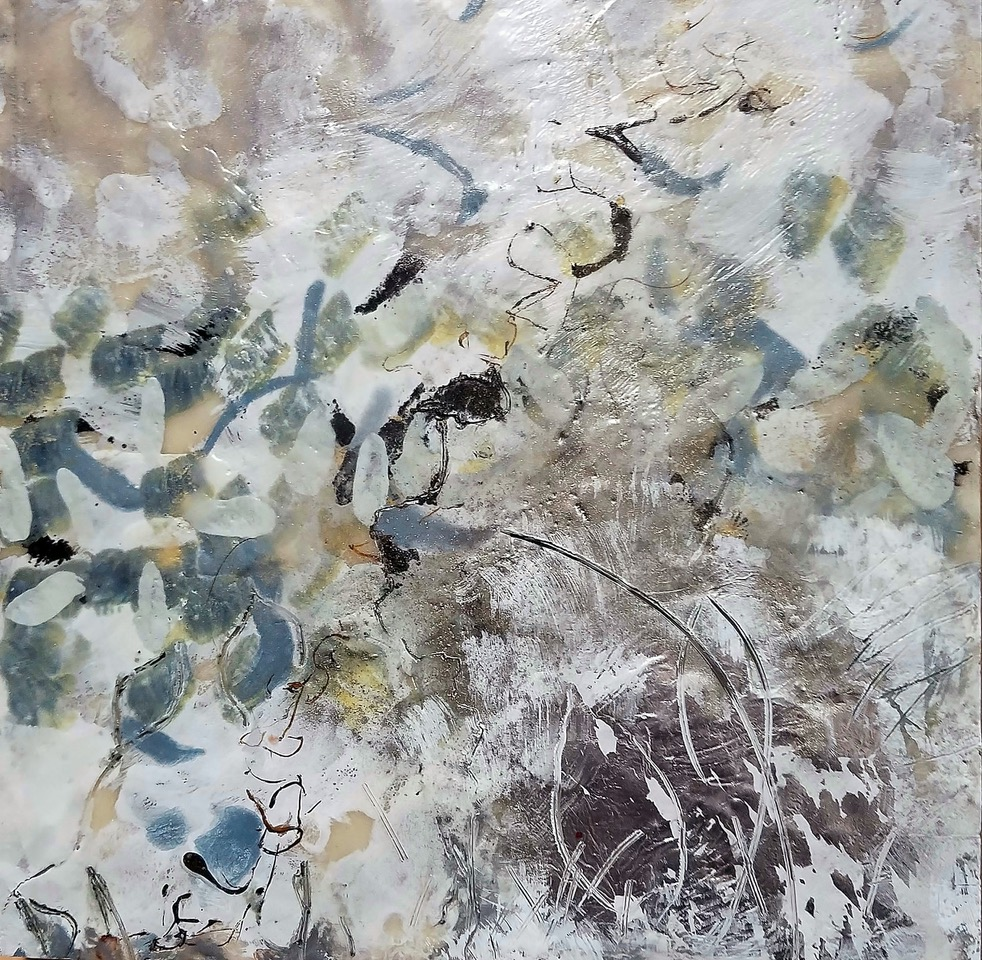 Migration III, encaustic, silver leaf, pigment on panel