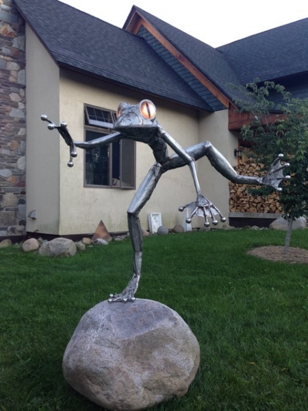 "Seaman  ""Leap Frog""  5 feet, stainless steel and glass"