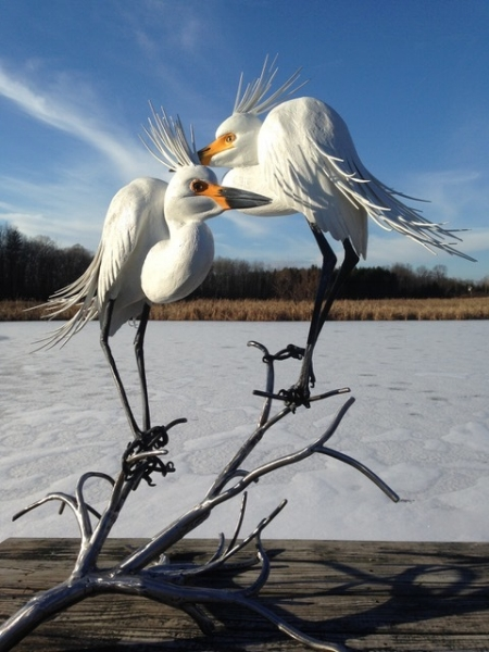 "Seaman  ""Herons""  lifesize, painted hand carved wood with steel legs"