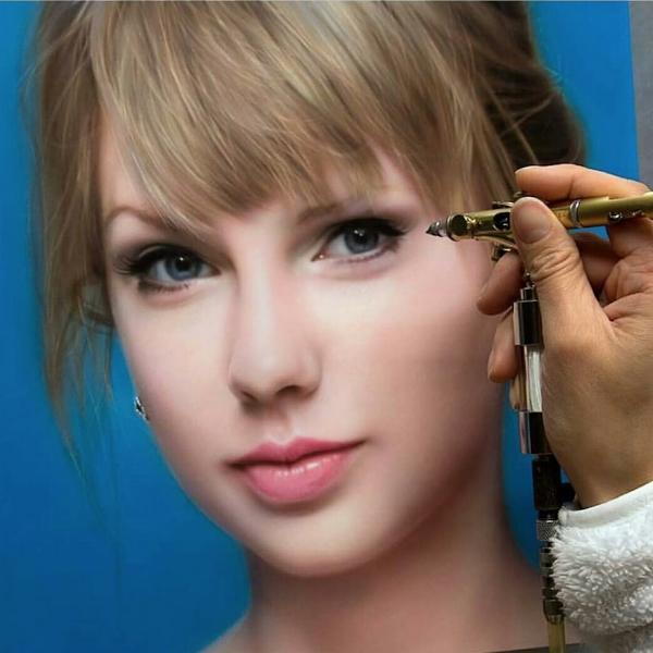 "Oosterlee,  ""Taylor Swift,""  12"" x 12"" Acrylic on Clayboard"