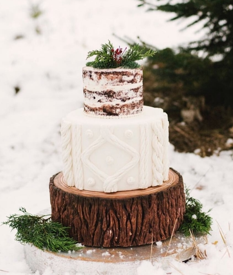 Christmas Tree Inspired Shoot   This masterpiece is one of our favorites. The fondant tree bark and fisherman knit sweater are perfection and were   featured in Ruffled Blog  . Photography by Alicia King Photography.