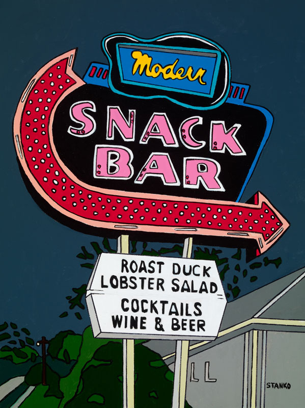 Nighttime at Modern Snack Bar