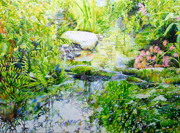 Ross Barbera Small Stream at Avalon Park, Watercolor Mounted on Canvas, 32 x 42, 2017
