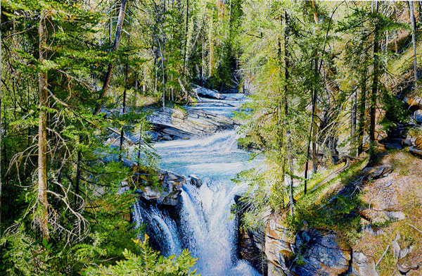 Somewhere Along Johnston Canyon, Alberta Canada, Acrylic on Canvas, 48 x 72, 2017