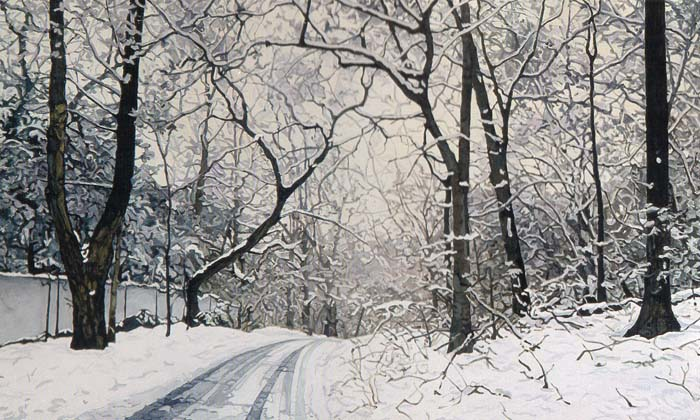 Shain Bard - Road to Anne's House in the Snow - Oil