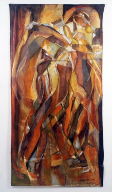Golden Moves, 2013, oil on muslin and scrim, 37 inches x 74 inches.JPG