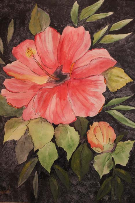 Hibiscus-Mixed Media