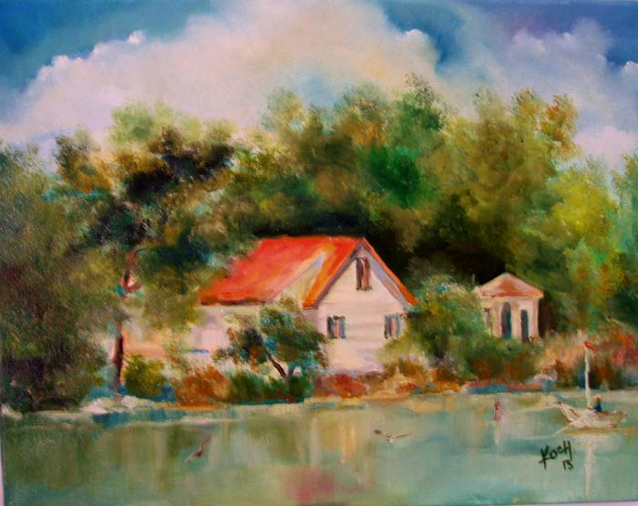 Lake at Stony Brook Village Center - Oil -14 x 18.jpg