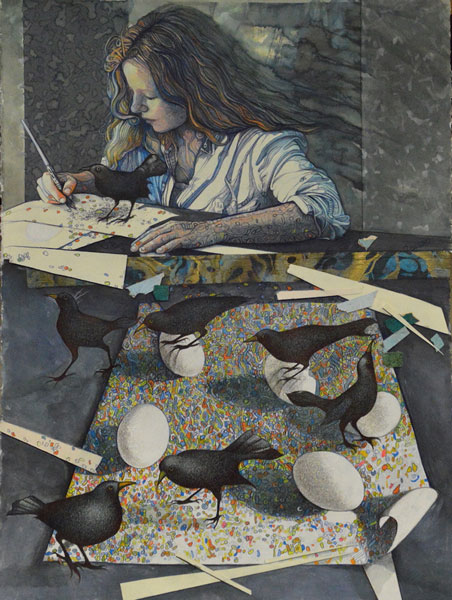 Margaret-Minardi,-Self-Portrait-with-Grackle,-Mixed-Media.jpg
