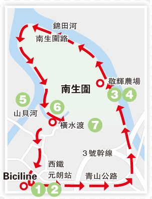 The antii-clockwise route to visit Nam Sang Wai, starting from Yuen Long Station.