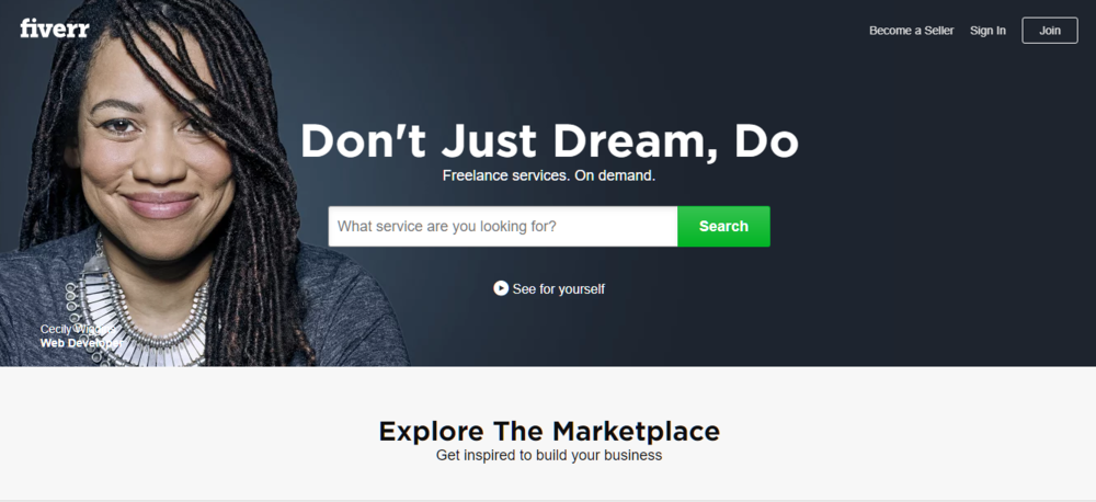 Fiverr's homepage