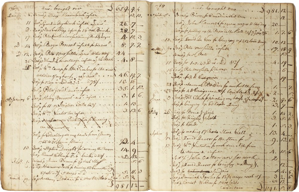 Account book of James Beekman, Turtle Bay, NY, 1763